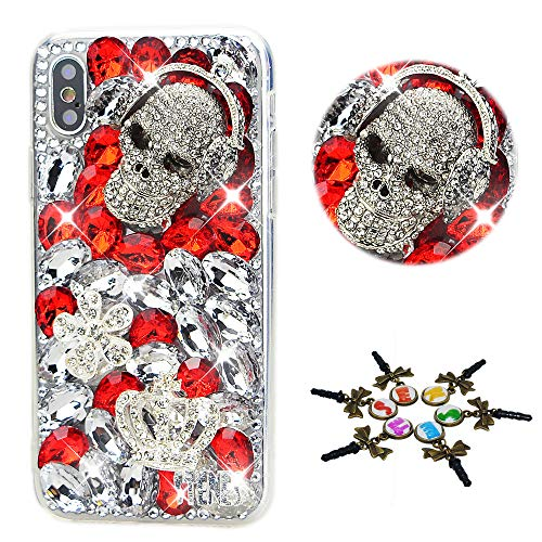 STENES Bling Case Compatible with iPhone 11 Pro Max - Stylish - 3D Handmade Fashion Skull Crown Flower Crystal Design Protective Cover Compatible with iPhone 11 Pro Max 6.5 Inch 2019 - Red