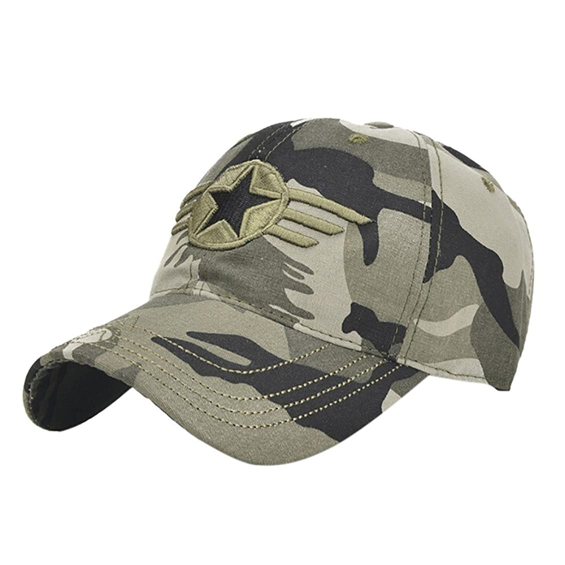 ナイロンレスリングピッチRacazing Cap ミリタリーキャップ 野球帽 迷彩 夏 登山 通気性のある メッシュ 帽子 ベルクロ 可調整可能 スターバッジ 刺繍 棒球帽 UV 帽子 軽量 屋外 Unisex Hat (迷彩)
