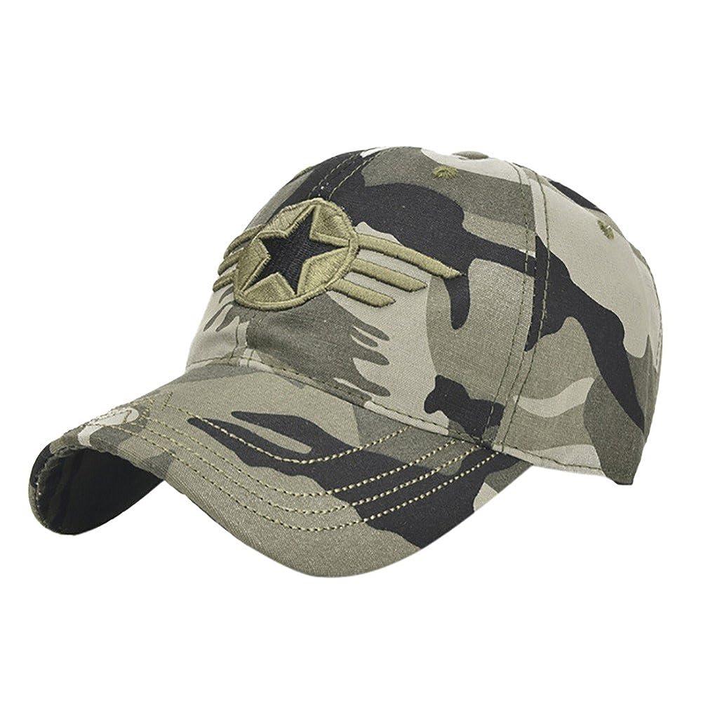 山積みの展開する症状Racazing Cap ミリタリーキャップ 野球帽 迷彩 夏 登山 通気性のある メッシュ 帽子 ベルクロ 可調整可能 スターバッジ 刺繍 棒球帽 UV 帽子 軽量 屋外 Unisex Hat (迷彩)