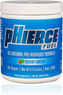 pHierce Fuel All Natural Pre Workout Energy Powder with Beta Alanine and Xylitol - Keto Friendly Athlete-Grade Formula wit...