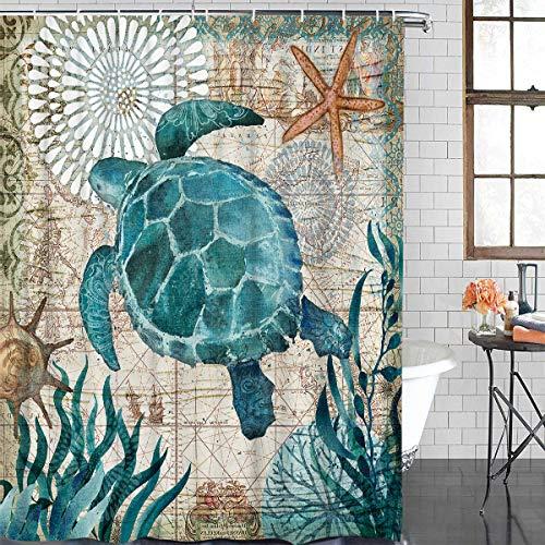 Crystal Emotion Duschvorhang aus Stoff, nautisches Streifendesign, Marineblau/Weiß 70x72 schildkröte
