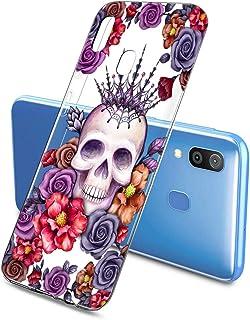 Suhctup Transparente Funda Compatible con Samsung Galaxy A40Carcasa Protectora de TPU Ultradelgada Flor y Calavera Diseño Anti-Choques Resistente Case Cover para Samsung Galaxy A40(7)