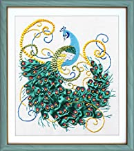 Wandafull Green Peacock Handmade Ribbon embroidery Kit flowers(No frame)