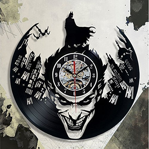Super Cool Hot Vinyl Record Concept Wall Clock Batman Theme CD Vinyl Clocks Horloge Murale Decorative Modern Design