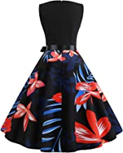 COZOCO Vestido de Las Señoras Vestido de Cintura sin Mangas con Cuello Redondo y Estampado de Flores Retro Francés de Las Mujeres