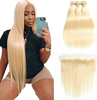 HCDIVA 613 Blonde Human Hair Bundles with Frontal Brazilian Straight with Frontal 100% Virgin Human Hair Weave with 13x4 Lace Frontal (18 18 20+16inch, 613)