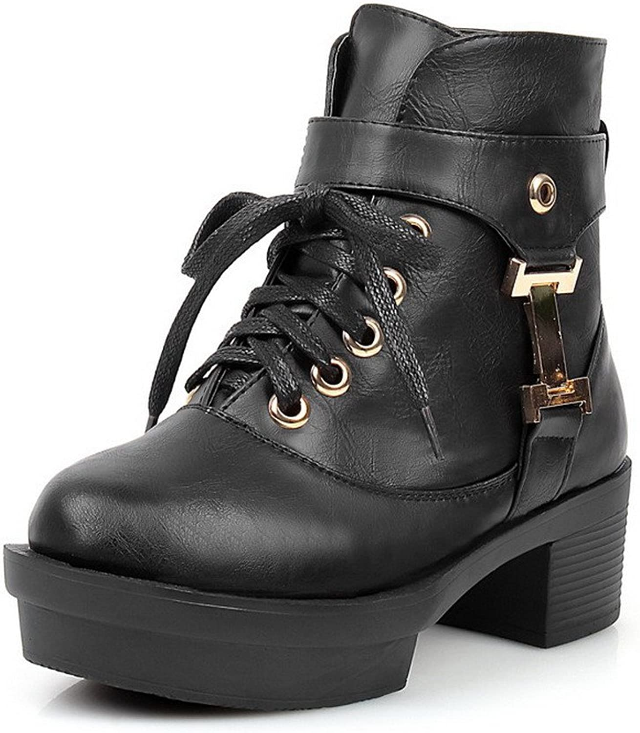 WeenFashion Women's Pu Solid Lace up Round Closed Toe Kitten Heels Boots