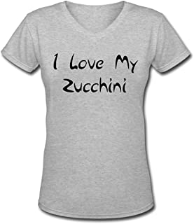 I LOVE MY ZUCCHINI Men's Short Sleeve Cotton V-Neck T-Shirt