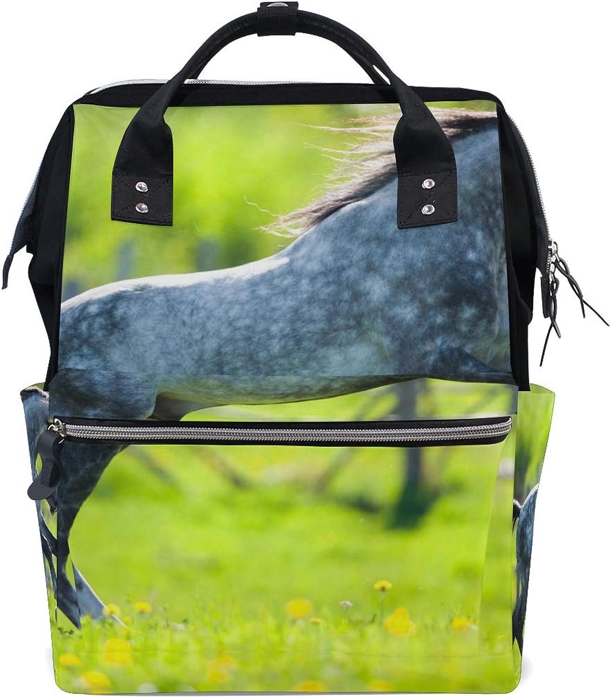 FANTAZIO Backpacks Special White Dot Horse School Bag Canvas Daypack
