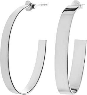 Sterling Silver Oval 3/4 Hoop Earrings