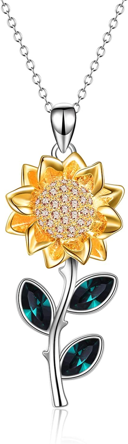 YFN Cheap sale Sunflower Necklace Raleigh Mall Sterling Pendant Crystal Silver