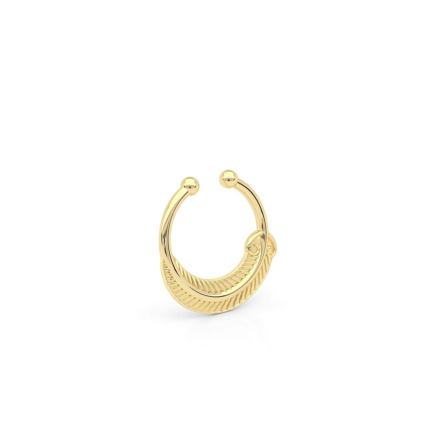 Tiny Outlet SALE Fake Septum Ring Indian Faux Pierced Sep Brass On Non Free Shipping New Clip