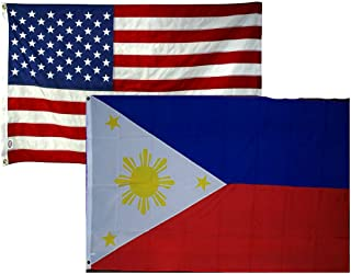 AES 2x3 2'x3' Wholesale Combo USA American & Philippines 2 Flags Flag Banner Brass Grommets House Banner Brass Grommets Fade Resistant Double Stitched Premium Quality