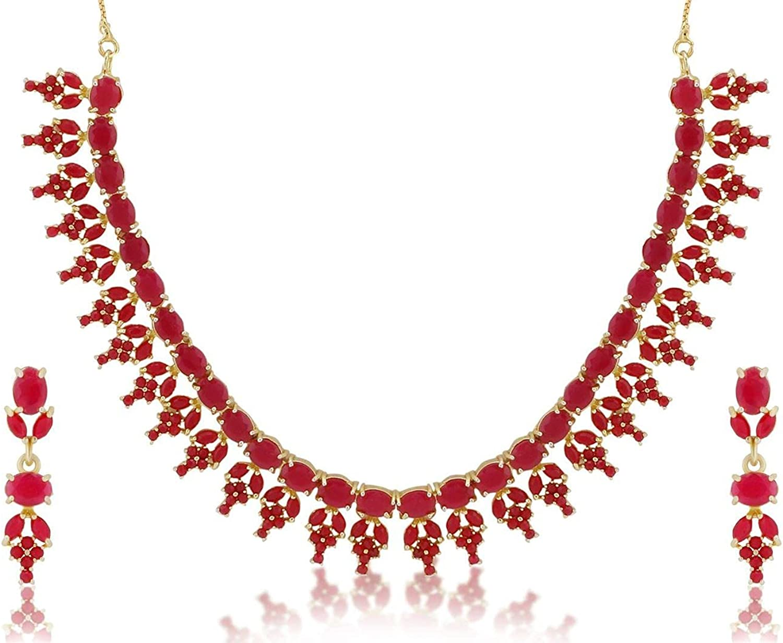 Efulgenz Indian Bollywood Gold Plated Pink Crystal Rhinestone Wedding Bridal Choker Necklace Earring Jewelry Set