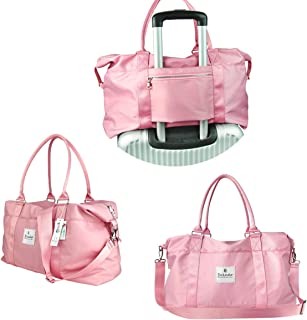 Canvas Travel Tote Duffel Bag Carry on Weekender Overnight Bag (Pink, Large)