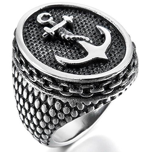 MunkiMix Acero Inoxidable Anillo Ring El Tono De Plata Negro Ancla Náutico Talla Tamaño 22 Hombre