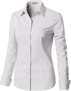 605882b8c8 CLOVERY Women s Basic Long Sleeve Slim Fit Button Down Shirt