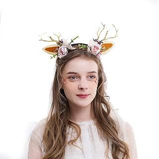 Christmas Headbands,Christmas Colorful Flower Headclip Costume Headband Deer Headband Accessories for Kids Women Easter