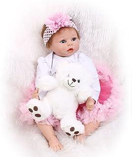 6d91fcba18d Nicery Reborn Baby Doll Réincarné bébé Poupée Doux Simulation Silicone  Vinyle 22 Pouces 55cm Bouche Qui