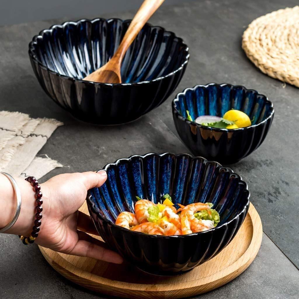 HJXSXHZ366 Tazón de cerámica Ensaladera de Fideos de cerámica Japonesa Ensaladera for reuniones Familiares Apto for lavavajillas Microondas Azul (Color : S, Size : 1 Pack): Amazon.es: Hogar