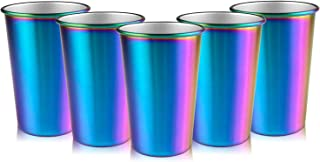 Rainbow Party Cups, Kereda Stainless Steel Cups 16oz 5-Pack Premium Drinking Glasses Unbreakable Colorful Tumblers BPA Free Eco Friendly