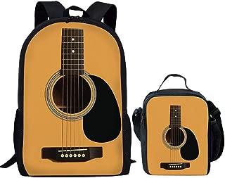 Showudesigns Kids Set Schoolbag Bookbag Travel Backpack + Lunch Box Cool Guitar Printing