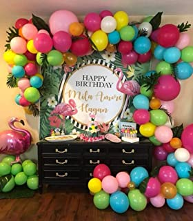 115pcs Balloon Garland & Arch Kit for Hawaii Party Flamingo Party-115pcs Latex Balloons, 16 Feets Arch Balloon Strip Tape, Balloon Tying Tool for Moana Party Tropical Party Fruit Party