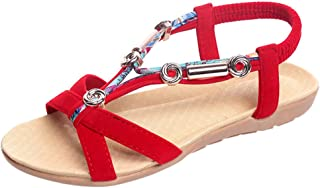Voberry Women's Sandals Elastic Belt Shoes Metal Fashion Shoes Bohemian Roman Sandals