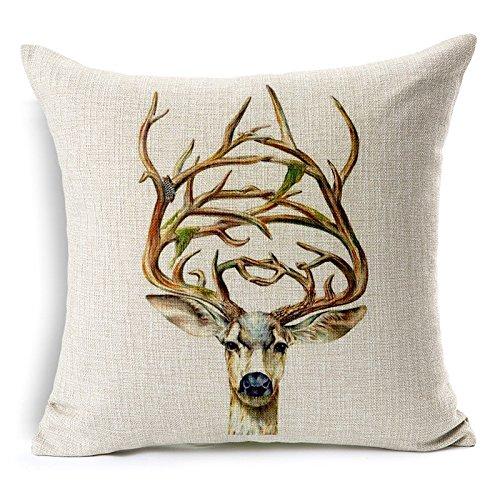 SN 2 PCS Simple Deer Pillow Case Sofa Bed Home Decor Cushion Cover 45x45cm (A Deer)