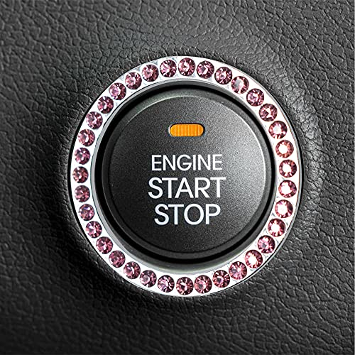 EcoNour Bling Starter Button for Car | Car Ignition Button Cover Bling | Ring Accessories | Push Button Start Cover | Car Accessories for Women Interior | Key Ring | Pink Car Accessories | 1 Pcs(Pink)