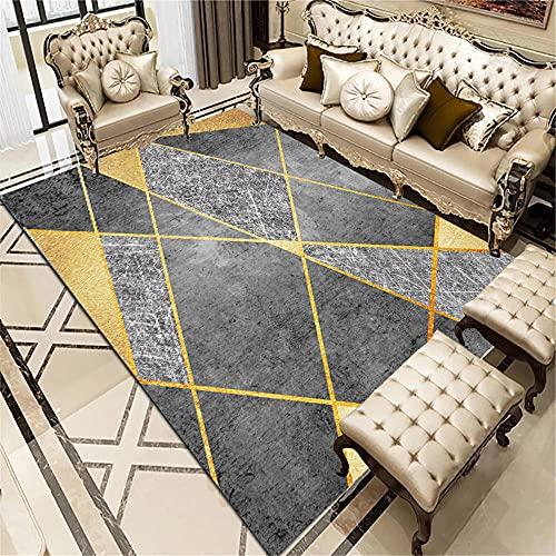 Kunsen Alfombra meditacion alfombras de Gateo Dorado de la Sala de Estar de la Alfombra de Oro Gris Estilo Moderno Rectangular alfombras Bebe 100X180CM 3ft 3.4' X5ft 10.9'