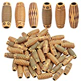 Hair Beads for Braids, 60pcs Imitation Wooden Hair Beads Dreadlocks 12mm Barrel Beads Big Hole Loose Beads for Jewellery Making, 3 Styles
