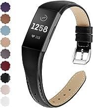KIMILAR Armbanden compatibel met Fitbit Charge 4 / Charge 3 armband, leer, reserveband, tweekleurig, horlogeband voor Char...