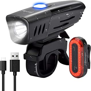 BRIVIGA USB Rechargeable Bike Light Set, 900 Lumens LED Bicycle Light Front & Rear Tail Light, 2600Mah Waterproof Bike Headlight + Rear Bike Light, Flashlight for Cycling Safety, Rubber Strap Mount