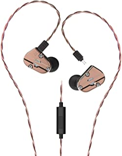 RevoNext Audio QT5 Professional in Ear Headphones with Detachable Cable Noise-Isolating in Ear Monitors 1DD+1BA Metal Housing (Coppery with MIC)