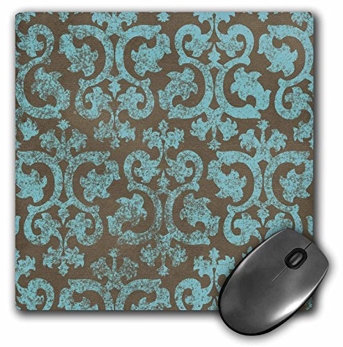 3dRose LLC 8 x 8 x 0.25 Inches Mouse Pad, Grunge Light Blue and Grey Damask Gray Faded Stamp Look Swirls Swirling Vintage Fancy Pattern (mp_151432_1)