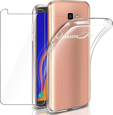 Leathlux Funda + Cristal para Samsung Galaxy J4 Plus, Transparente TPU Silicona [Funda + Vidrio Templado] Ultra Fino Protector de Pantalla 9H Dureza HD Case Cover para Samsung Galaxy J4 Plus