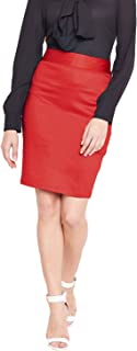 Purplicious Red Formal Cotton Women Pencil Skirt