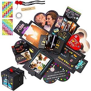 NEUFLY Explosionsbox, Kreative DIY Geschenkbox Scrapbook Fotoalbum Geschenk Faltendes Überraschung Box für Geburtstag Hochzeit Valentinstag Jahrestag