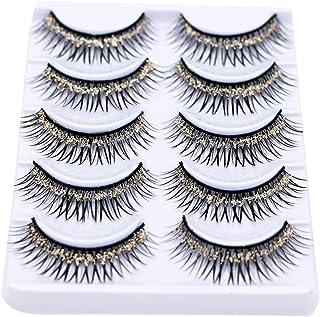 5 Pairs Colorful False Eyelashes Long Thick Glitter Artificial Eyelashes Makeup Eyelashes Extension Champagne Gold