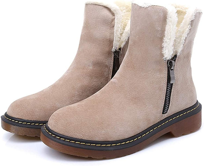 Btrada Kvinnors Snöskor Low klackar Dubbel Zipper Varma Kort Kort Kort Skor Kvinnor Plush Lining Winter Ankle skor  kundens första rykte först