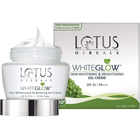 Lotus Herbals WhiteGlow Skin Whitening And Brightening Gel, Face Cream with SPF-25, for all skin types, 40g