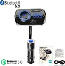 QC3.0 Fast Charging Function AUX Input//Output Bluetooth 5.0 Support SIRI//Google Voice Assistant Wireless Radio Adapter Hands-Free with Dual USB Charger USB FOIIOE FM Transmitter for Car TF Card