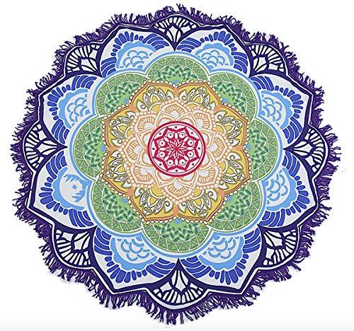 Tuch, Überwurf, Strandtuch, Yoga, Yogamatte, Lotus Design, Indisches Mandala, Rund, Baumwolle, Tischdecke Strandtuch, Schal II