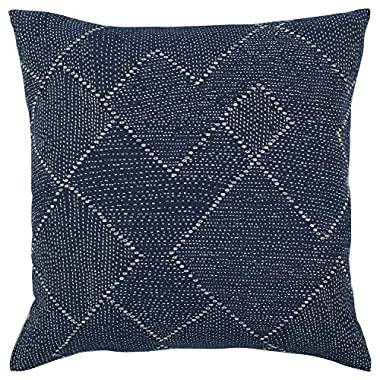 Stone & Beam Transitional Woven Diamond Decorative Throw Pillow Cover, 20  x 20 , Indigo