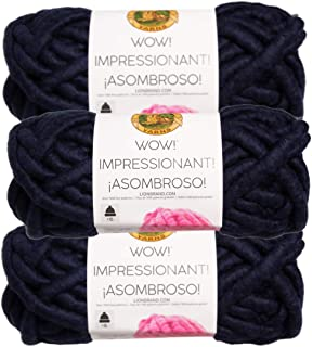 Lion Brand (3 Pack) Wow! Acrylic & Wool Soft in The Navy Blue Yarn for Knitting Crocheting Jumbo #7