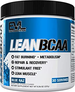 Evlution Nutrition LeanBCAA, BCAA's, CLA and L-Carnitine, Stimulant-Free, Recover and Burn Fat, Sugar and Gluten Free, 30 Servings (Blue Raz)