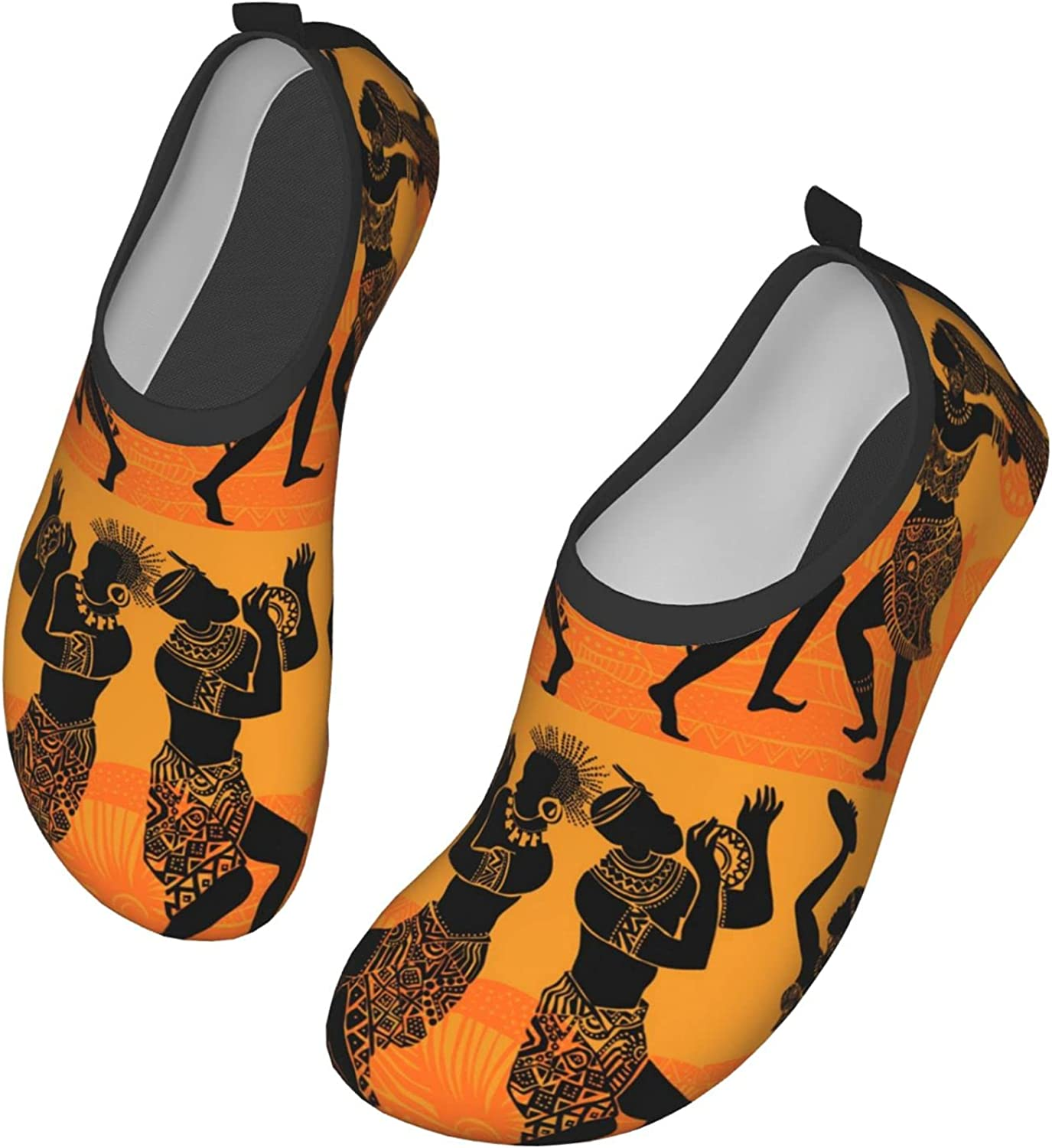 Dance of The Papuans Dancing African People Silhouettes with Musical Water Shoes Quick-Dry Aqua Yoga Socks Beach Pool Shoes Outdoor Beach Swim Sports for Women and Men 10 inch