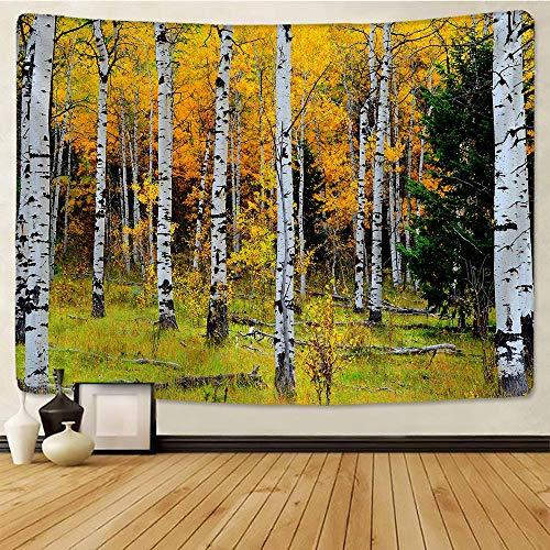 Naturaleza tapiz de pared abedul bosque cielo estrellado alfombra tapices de tela de pared TentureTree Mandala paisaje 150x180cm