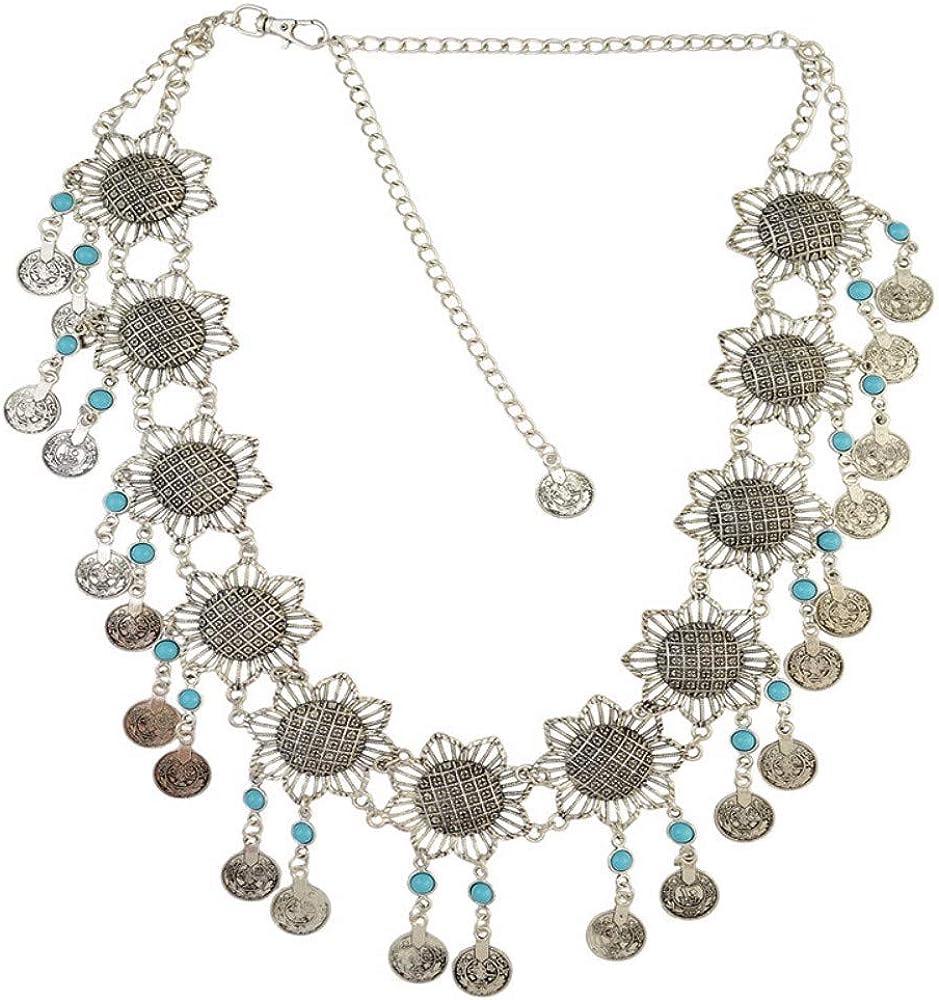 NDFSE-Body chain European and American Coins Tasseled Waist Chain Belly Dance Beach Retro Flower Waist Decoration Body Chain